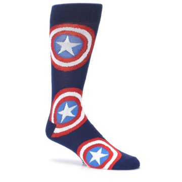 Image of Blue Captain America Logo Men's Casual Socks (side-1-26)