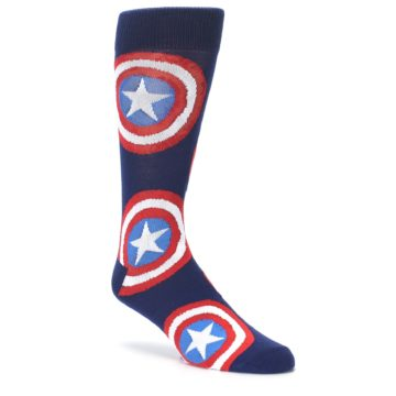 Image of Blue Captain America Logo Men's Casual Socks (side-1-27)