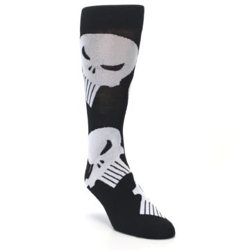 Image of Black Gray Punisher Logo Men's Casual Socks (side-1-front-02)