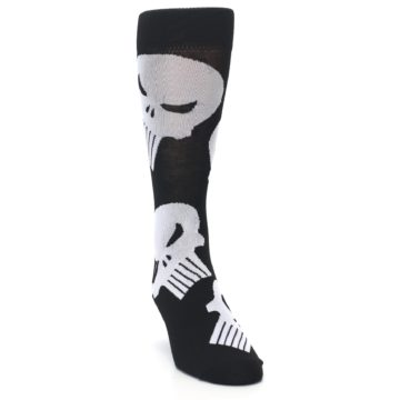 Image of Black Gray Punisher Logo Men's Casual Socks (side-1-front-03)