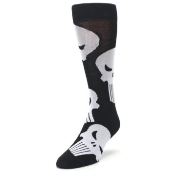 Image of Black Gray Punisher Logo Men's Casual Socks (side-2-front-07)