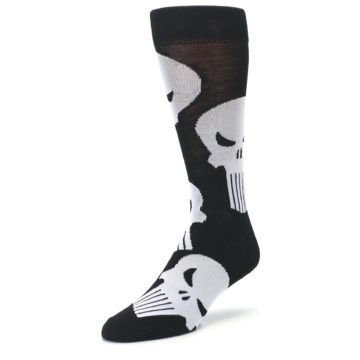 Image of Black Gray Punisher Logo Men's Casual Socks (side-2-front-08)