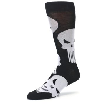 Image of Black Gray Punisher Logo Men's Casual Socks (side-2-09)