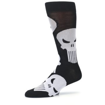 Image of Black Gray Punisher Logo Men's Casual Socks (side-2-10)