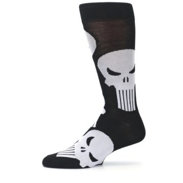 Image of Black Gray Punisher Logo Men's Casual Socks (side-2-11)