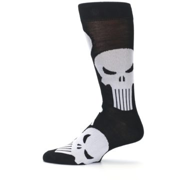 Image of Black Gray Punisher Logo Men's Casual Socks (side-2-12)