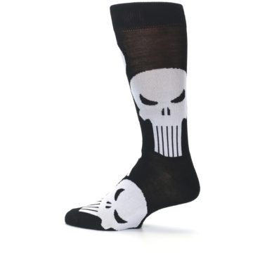 Image of Black Gray Punisher Logo Men's Casual Socks (side-2-13)