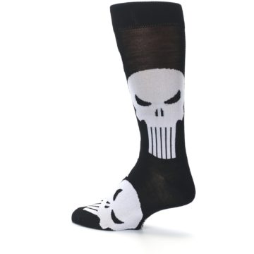 Image of Black Gray Punisher Logo Men's Casual Socks (side-2-back-14)