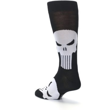 Image of Black Gray Punisher Logo Men's Casual Socks (side-2-back-15)