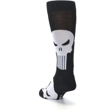 Image of Black Gray Punisher Logo Men's Casual Socks (side-2-back-16)