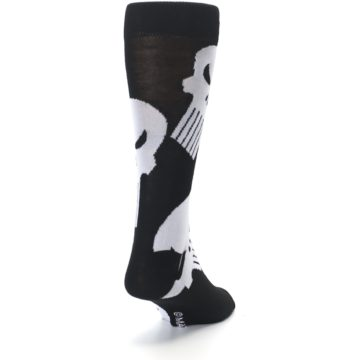 Image of Black Gray Punisher Logo Men's Casual Socks (side-1-back-20)