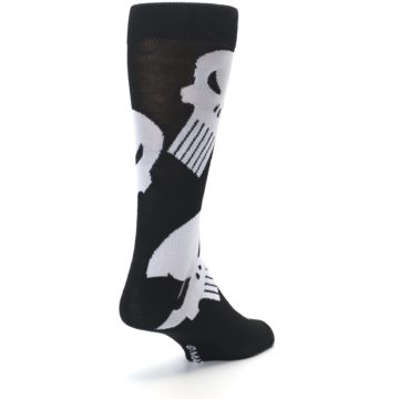 Image of Black Gray Punisher Logo Men's Casual Socks (side-1-back-21)