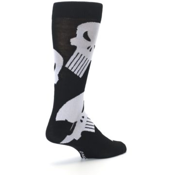 Image of Black Gray Punisher Logo Men's Casual Socks (side-1-back-22)
