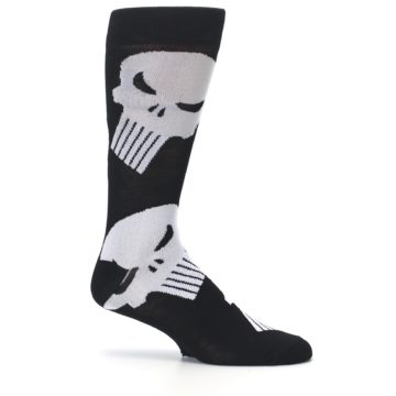Image of Black Gray Punisher Logo Men's Casual Socks (side-1-25)