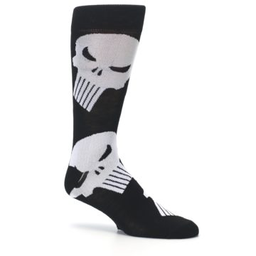 Image of Black Gray Punisher Logo Men's Casual Socks (side-1-26)
