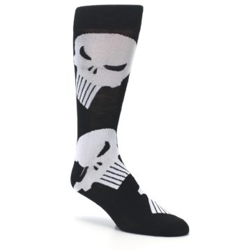 Image of Black Gray Punisher Logo Men's Casual Socks (side-1-27)
