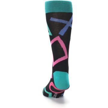 Image of Black Multi Playstation Logo Men's Casual Socks (back-17)