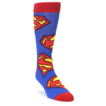 Image of Blue Red Superman Logo Men's Casual Socks (side-1-front-02)