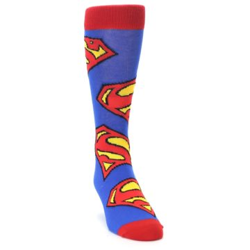 Image of Blue Red Superman Logo Men's Casual Socks (side-1-front-03)