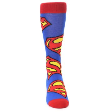 Image of Blue Red Superman Logo Men's Casual Socks (front-04)