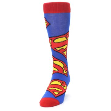 Image of Blue Red Superman Logo Men's Casual Socks (side-2-front-06)