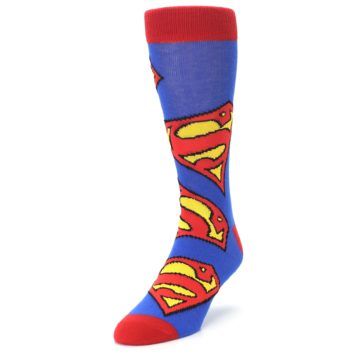 Image of Blue Red Superman Logo Men's Casual Socks (side-2-front-07)