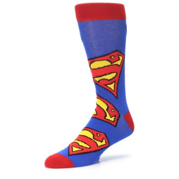 Image of Blue Red Superman Logo Men's Casual Socks (side-2-09)