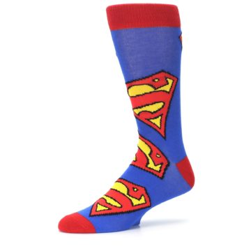 Image of Blue Red Superman Logo Men's Casual Socks (side-2-10)