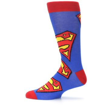 Image of Blue Red Superman Logo Men's Casual Socks (side-2-12)