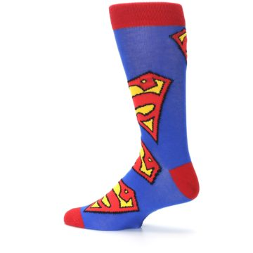 Image of Blue Red Superman Logo Men's Casual Socks (side-2-13)