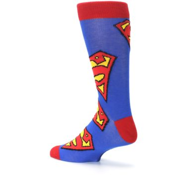 Image of Blue Red Superman Logo Men's Casual Socks (side-2-back-14)