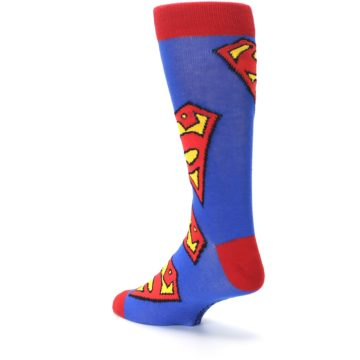 Image of Blue Red Superman Logo Men's Casual Socks (side-2-back-15)