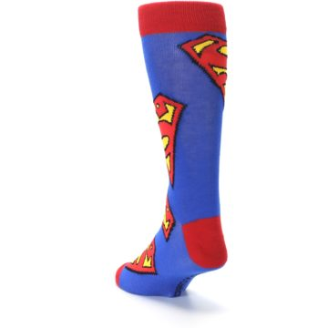 Image of Blue Red Superman Logo Men's Casual Socks (side-2-back-16)