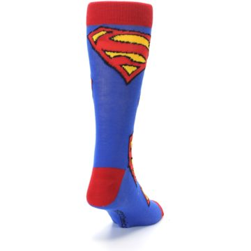Image of Blue Red Superman Logo Men's Casual Socks (side-1-back-20)