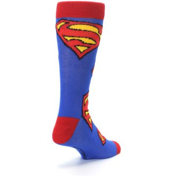 Image of Blue Red Superman Logo Men's Casual Socks (side-1-back-21)