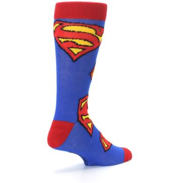 Image of Blue Red Superman Logo Men's Casual Socks (side-1-back-22)