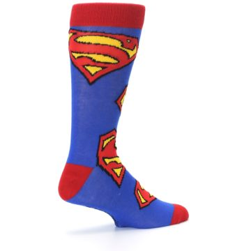 Image of Blue Red Superman Logo Men's Casual Socks (side-1-23)