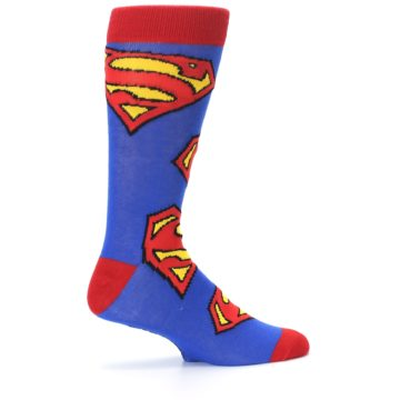 Image of Blue Red Superman Logo Men's Casual Socks (side-1-24)
