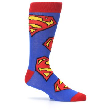 Image of Blue Red Superman Logo Men's Casual Socks (side-1-25)