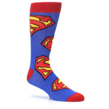 Image of Blue Red Superman Logo Men's Casual Socks (side-1-26)