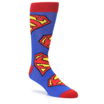 Image of Blue Red Superman Logo Men's Casual Socks (side-1-27)