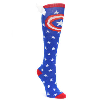 Blue-Red-Captain-American-Womens-Knee-High-Socks-BIOWORLD