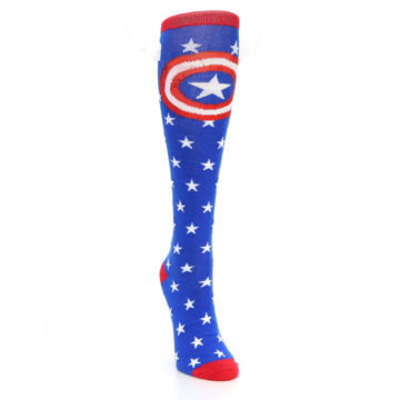 Image of Blue Red Captain American Women's Knee High Socks (side-1-front-03)