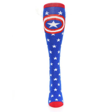 Image of Blue Red Captain American Women's Knee High Socks (front-05)