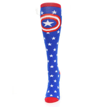 Image of Blue Red Captain American Women's Knee High Socks (side-2-front-06)