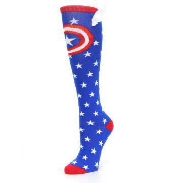 Image of Blue Red Captain American Women's Knee High Socks (side-2-09)