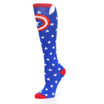 Image of Blue Red Captain American Women's Knee High Socks (side-2-10)