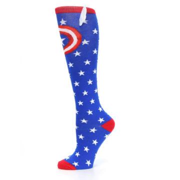 Image of Blue Red Captain American Women's Knee High Socks (side-2-11)