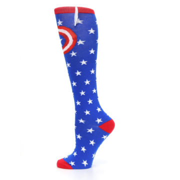 Image of Blue Red Captain American Women's Knee High Socks (side-2-12)