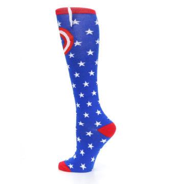 Image of Blue Red Captain American Women's Knee High Socks (side-2-13)